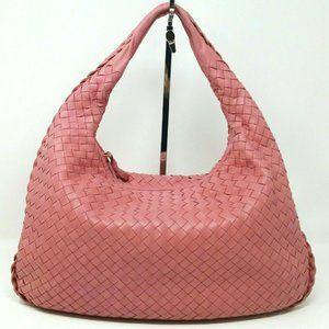 Bottega Veneta Intrecciato Woven Pink Hobo Handbag